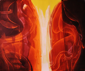 Red gorge,  oil on canvas, 120cm x 100cm, 2014, contemporary abstract art