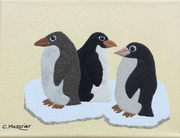 Pingouins; 24 x 18 cm