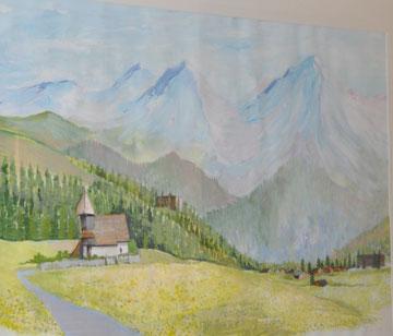 Arosa mit Bergkirche, 80 x 100, Mischtechnik auf Papier gerahmt und verglast, Beatrice Ganz