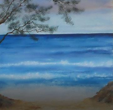 Eine Phantasie, eine Erinnerung an das Mittelmeer, Aquarell auf Leinwand, 80x80, Beatrice Ganz, 2018