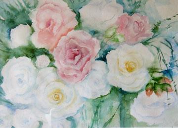 Weisse Rosen, Aquarell auf Papier, Beatrice Ganz