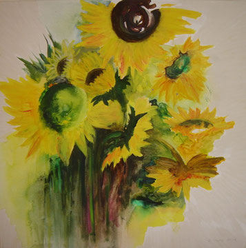 Sonnenblumen, 80 x 80, Acryl auf Leinwand, Beatrice Ganz