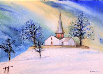 Alte Kirche Witikon, 2016, Aquarrll auf Leinwand, Nr. 3, Beatrice Ganz