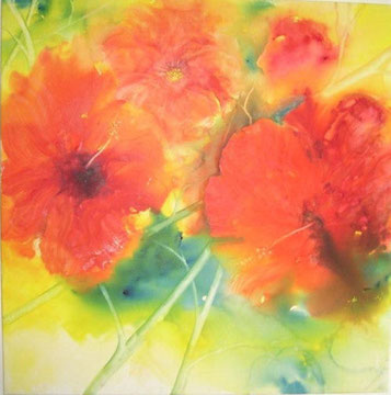 Mohnblumen rot Nr. 1, Aquarell auf Leinwand, 80 x 80 cm, Beatrice Ganz
