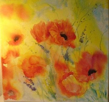 Mohnblumen rot Nr. 2, Aquarell auf Leinwand, 80 x 80 cm, Beatrice Ganz