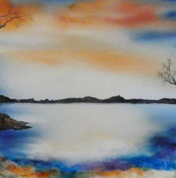 Abendstimmung Nr. 1  Aquarell auf Leinwand, 80 x 80 cm, Beatrice Ganz, 2018