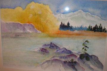 Bergsee, Aquarell auf Papier, Beatrice Ganz