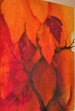 Fallende Blätter, mit Rahmen, 77 x 104 cm,  Beatrice Ganz