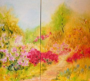 Japanischer Garten,  Aquarell auf zwei Leinwänden, 50 x 100 und 60 x 100 cm, Beatrice Ganz