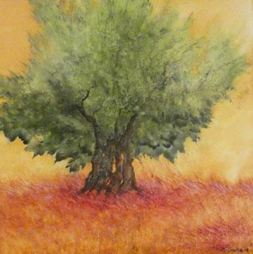 Olivenbaum Nr. 4, Aquarell auf Leinwand, 70x70, Beatrice Ganz, 2018
