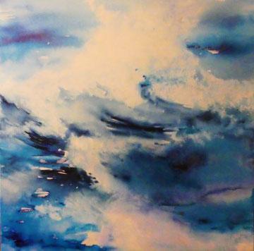 Die Welle, Aquarell auf Leinwand, 80x80, Beatrice Ganz, 2018
