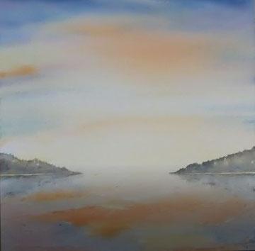 Morgengrauen,  Erinnerung an das Mittelmeer, Aquarell auf Leinwand, 80x80, Beatrice Ganz, 2018