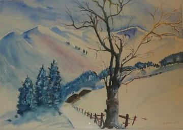 Winterlandschaft, Aquarell auf Paier gerahmt, Beatrice Ganz