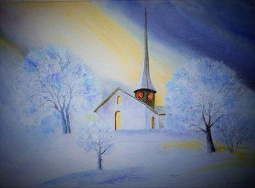 Alte Kirche Witikon, 2017, Aquarell auf Leinwand, 60 x 60 cm, Nr. 1,Beatrice Ganz
