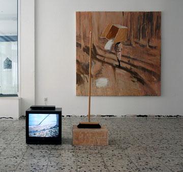 Schaufeln, Handy Video / Besen, 2013 / Im Wald, 2013, Öl auf Leinwand