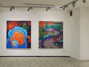 Kriemhilds Traum, 2013, Acryl, Kohle auf Nessel, 170cm x 150cm /  Siegfried und der Drache, 2013, Acryl, Kohle auf Nessel, 170cm x 150cm