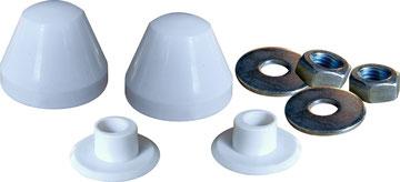 Cappucci copri dado e cartella eccentrica ad alta resistenza meccanica da noi prodotti. Colore Bianco