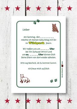 """Einladungskarte """"WILDPARK""""  Rückansicht"""