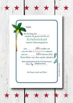 """Einladungskarte """"ERLEBNISBAD"""" Rückansicht"""
