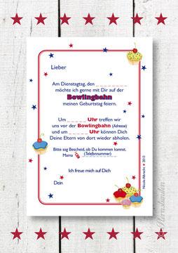 """Einladungskarte """"BOWLING"""" Rückansicht"""