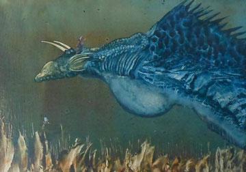 Dragon-huile sur carte-30x25-1974