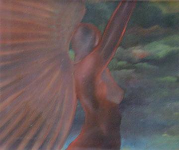 l'ange rouge-huile sur carte-50x60-1976