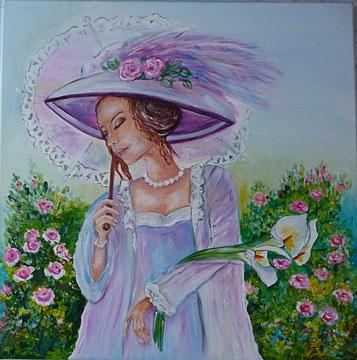 Belle au chapeau (Acrylique ) -copyright Pascale Richert