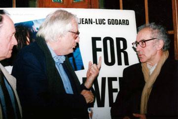 Jean - Luc GODARD,  Bertrand TAVERNIER et Jacques OUDOT - Institut Lumière - Lyon - 1996 © Anik COUBLE
