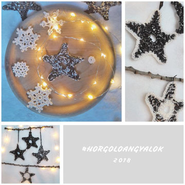 Kazetta szalagból horgolt karácsonyi csillag