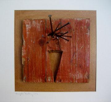 Vernagelt....   Holz Pappe Nägel a.4er Serie 50x50 Objektrahmen