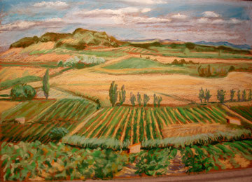 Minervois, fin d'été, pastel 39x29 Sylvie Berman artiste peintre