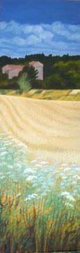 Blés de Cazaban, Huile sur toile 50x120cm Sylvie Berman artiste peintre