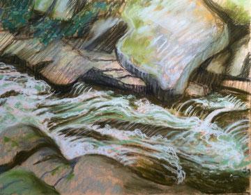 Torrent de Brousses, pastel 3!x29 Sylvie Berman artiste peintre