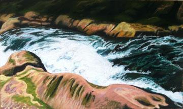 Torrent de Brousses, pastel 110x70 Sylvie Berman artiste peintre