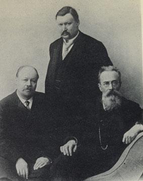 Liadov, Glazunov, y Rimsky-Korsakov, 1904.