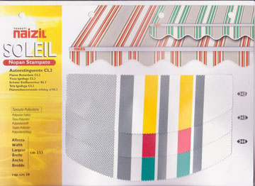 "Naizil ""Soleil""(Nopan Stampato) Pvc -Colore a fascia con righi- Codice Colore n.342/n.343/n.344"