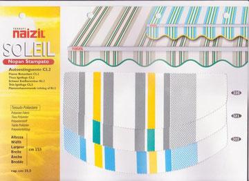 "Naizil ""Soleil""(Nopan Stampato) Pvc -Colore a fascia con righi-Codice colore n.320/n.321/n.322"