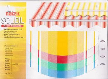 """Naizil """"Soleil"""" impermiabile pvc -Colore a fascia con fantasia- Codice Colore n.340/n.341/n.339/n.337"""