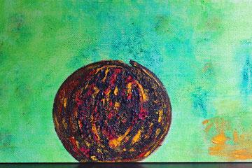 Frühlingserwachen / 2015, Acryl-/Mischtechnik auf Styroporplatte, 100 x 50 cm