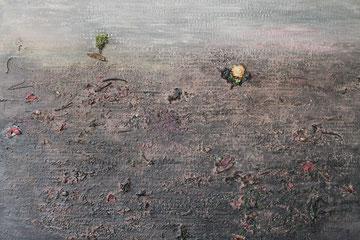 Die Disteln des Bărăgan II / 2014, Acryl-/Mischtechnik (Staub, getrocknete Naturmaterialien) auf Pappe, 77 x 64 cm