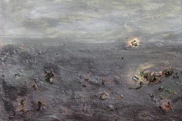 Die Disteln des Bărăgan I / 2014, Acryl-/Mischtechnik auf Karton, ca. 77 x 72 cm