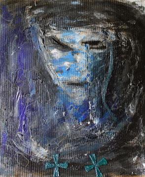 Selbstportrait mit Strähne / 2014, Acryl-/Mischtechnik auf Pappe, ca. 56 x 58 cm