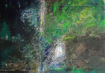 Der lange Weg der Nachtigall / 2013, Mischtechnik auf Karton, 65 x 47 cm