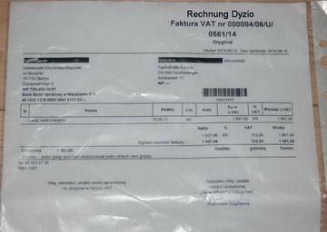 Rechnung Dyzio 1.661,00 Zloty = 415,25 Euro