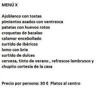 Entrefinos restaurante para despedidas de soltera Almeria Menu - x