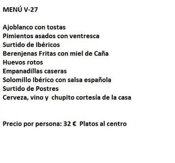 Entrefinos restaurantes despedidas Almeria Menú V-27