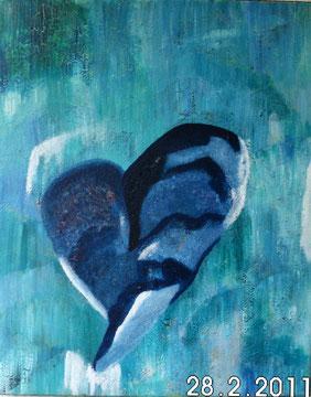 Das blaue Herz.  Ist es das kalte Herz? Darunter liegen viele Schichten von Farben. oder sieht es endlich klar?