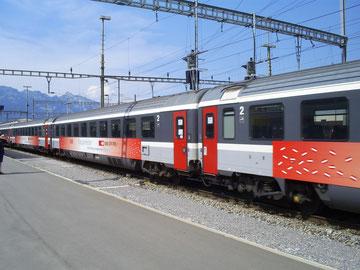 Zug 15162 bei der Abfahrt Richtung Zürich HB im Grenzbahnhof Buchs (SG)