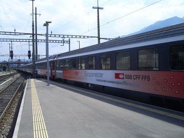 Zug 15162 bei der Einfahrt aus Wien im Grenzbahnhof Buchs (SG)