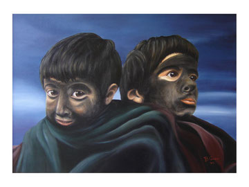 Brothers at carnival of Mamuttones    70x50 cm  2005